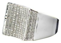 Other Mens 10k White Gold Round Cut Pave Genuine Diamond Designer Pinky Ring 0.45 Ct.