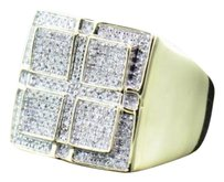 Other Mens 10k Yellow Gold White Round Cut Pave Diamond Domed Face Pinky Ring .48 Ct.