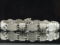 Jewelry For Less Mens Diamond .925 Sterling Silver Link Bracelet Round Pave Tcw.