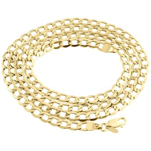 Jewelry For Less Mens Hollow 10k Yellow Gold Mm Cuban Curb Link Chain Necklace 16-30 Inches