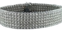 Other Mens Row .925 Sterling Silver White Diamond Tennis Bracelet Bangle Fanook Ct
