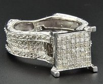 Diamond Engagement Ring Square Head .925 Sterling Silver White Finish 0.73 Ct.