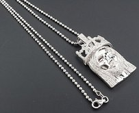Jewelry For Less Mini Diamond Jesus Face Crown Pendant .925 Sterling Silver Charm 1 Ct. W Chain