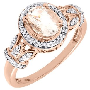 Other Morganite Diamond 10k Rose Gold Fashion Oval Halo Cocktail Ring 0.97 Tcw.