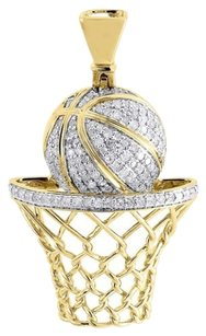 Diamond,Basketball,Pendant,Mens,10k,Yellow,Gold,Round,Pave,Hoop,Charm,34,Tcw.