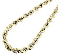10k,Yellow,Gold,Mens,Or,Ladies,Hollow,Rope,Chain,Necklace,8,Mm,22,24,Inches