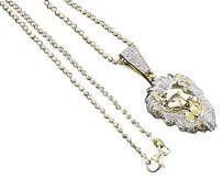Diamond,Lion,Face,Pendant,Yellow,Gold,Finish,Mens,Custom,Charm,0.50,Ct.,W,Chain