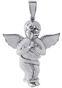 Diamond,Mini,3d,Angel,Piece,Pendant,Fully,Iced,10k,White,Gold,2,Charm,1,Ct.
