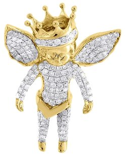 Diamond,3d,Angel,Pendant,Fully,Iced,Piece,10k,Yellow,Gold,Crown,Charm,1.10,Ct.