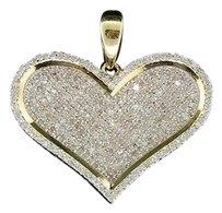 Ladies,10k,Yellow,Gold,Love,Heart,Pave,Diamond,Pendant,Charm,For,Necklace,1,Ct.