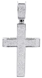 Diamond,Cross,Charm,10k,White,Gold,Flat,Jesus,Round,Cut,Fashion,Pendant,0.95,Ct.