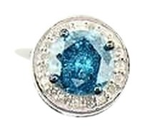 Ladies,10k,White,Gold,Blue,Solitaire,Diamond,Pendant,Charm,Halo,Setting,0.84,Ct.