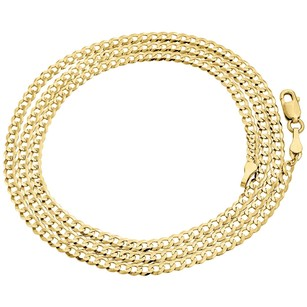 Other Real 10k Yellow Gold 3.0mm Solid Plain Cuban Link Style Chain Necklace 16-30