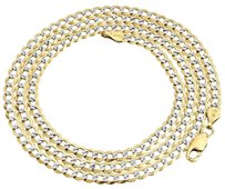 Real 10k Yellow Gold 3.5mm Solid Pave Style Cuban Link Chain Necklace 16-30