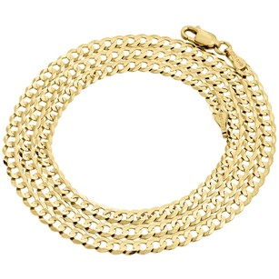 Jewelry For Less Real 10k Yellow Gold 3.5mm Solid Plain Style Cuban Link Chain Necklace 16-30