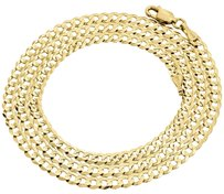 Real 10k Yellow Gold 3.5mm Solid Plain Style Cuban Link Chain Necklace 16-30