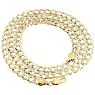 Jewelry For Less Real 10k Yellow Gold 5.5mm Solid Diamond Cut Cuban Link Chain Necklace 16-30