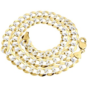 Real 10k Yellow Gold Solid Diamond Cut Mm Cuban Link Chain Necklace 20-30