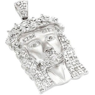 Jewelry For Less Real Diamond Mico Mini Jesus Face Pendant 10k White Gold 0.24 Ct Round Cut Charm