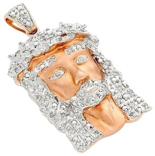 Other Real Diamond Micro Mini Jesus Face Pendant 10k Rose Gold 0.25 Ct Round Cut Charm