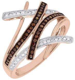 Other Red Diamond Designer Cocktail Ring 10k Rose Gold Fashion Right Hand Band 14 Ct.