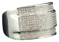 Diamond,Domed,Pinky,Ring,Mens,.925,White,Gold,Finish,Round,Pave,Fashion,1,Tcw.