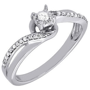 Diamond Promise Engagement Fashion Ring Round Solitaire 10k White Gold 0.12 Ct.