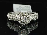 Ladies 14k White Gold Round Cut Solitaire Diamond Engagement Ring Bridal Set