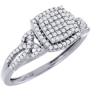 Diamond Cluster Engagement Wedding Ring 10k White Gold Pave Halo Style 0.33 Ct.