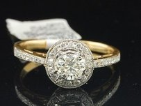 Round Solitaire Diamond Halo Engagement Ring 14k Yellow Gold Prong Set 0.76 Ct