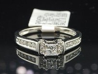 Ladies 14k White Gold Princess Cut Diamond Engagement Ring Bridal Set .38 Ct.