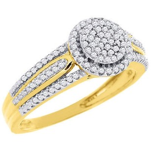 Round Diamond Engagement Wedding Ring 10k Yellow Gold Pave Halo Head 0.25 Ct.