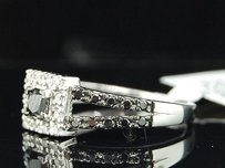 Black Solitaire Diamond Engagement Ring 10k White Gold Princess Round 0.58 Ct
