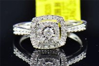 Solitaire Diamond Engagement Ring 14k White Gold Double Halo Round Cut 0.37 Ct