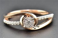 Solitaire Diamond Engagement Ring Ladies Round Cut 10k Rose Gold Swivel 0.29 Ct
