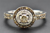 Brown Solitaire Diamond Engagement Ring Ladies Round Cut 10k White Gold 0.75 Ct