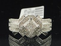 Diamond Square Engagement Ring W Halo 10k White Gold Pave Round Cut 0.40 Ct