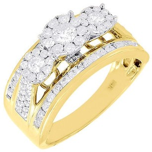 Diamond Wedding Engagement Ring 14k Yellow Gold Solitaire Three Stone 1 Tcw.