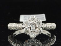 Baguette Diamond Flower Engagement Ring 10k White Gold Round Cut 0.99 Ct