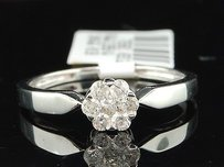 Diamond Engagement Ring 10k White Gold Flower Round Cut Solitaire Style 0.25 Ct
