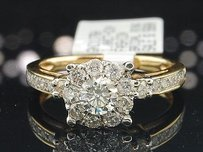 Solitaire Diamond Halo Engagement Ring 14k Yellow Gold Round Cut 1 Ct