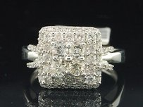 Ladies 10k White Gold Solitaire Halo Diamond Engagement Ring Bridal Set 1 Ct.