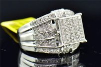 Diamond Engagement Ring 10k White Gold Round Cut Pave 12 Ct Square Head