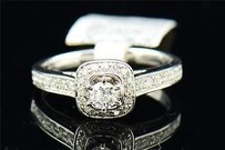 Round Solitaire Diamond Engagement Ring W Halo 14k White Gold Prong Set 0.51 Ct