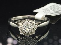 Diamond Engagement Ring Ladies 14k White Gold Round Cut Promise Band 12 Ct.
