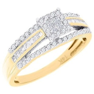 Diamond Engagement Wedding Ring 14k Yellow Gold Princess Baguette Cut 0.37 Ct.