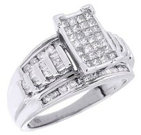 Princess Diamond Engagement Ring .925 Sterling Silver Round Baguette Cut 1 Ct.