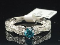 Blue Solitaire Diamond Engagement Ring 10k White Gold Round Cut 0.68 Ct