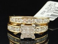 Diamond Bridal Set 14k Yellow Gold Princess Cut Engagement Ring Wedding Band