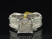 Diamond Square Engagement Ring 10k White Gold Round Cut 1.40 Ct Side Wall Design